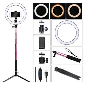 Image 2 - Fosoto Lámpara de Anillo de luz Led regulable, iluminación fotográfica de 16/26cm, 3200K 5500K, fotografía de estudio con teléfono, vídeo, maquillaje de belleza con trípode