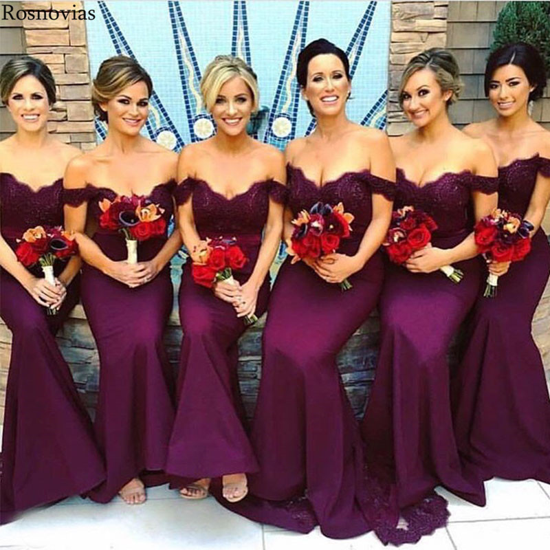 Dark Purple Off Shoulder Mermaid   Bridesmaid     Dresses   2019 Stain Wedding Guest Gowns Maid Of Honor Party   Dresses   Cheap Custom