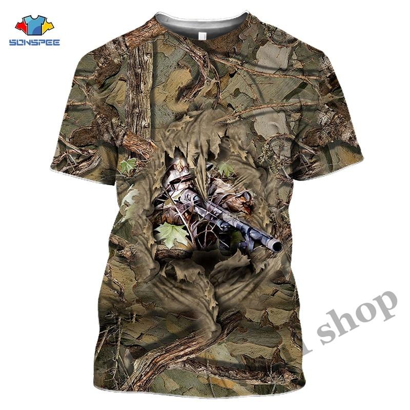Animal Deer Anime 3D Weeds Camo T Shirts Elk Hunter Men's Clothes Women Gun Hunting T-shirt Harajuku Tee Tops Homme Short Sleeve