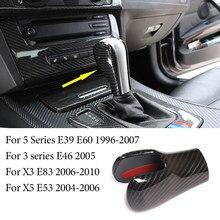 Pomo de palanca de cambio de marchas para coche, cubierta de decoración inferior, embellecedor de carbono ABS para BMW Serie 3 5, E39, E60, E46, X3, X5, E83, E53, accesorios interiores