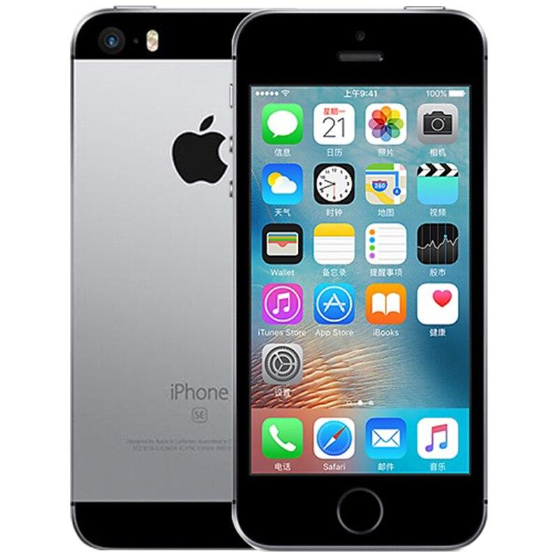 Разблокированный Apple iphone SE, мобильный телефон, 4 аппарат не привязан к оператору сотовой связи 4,0 '2 Гб Оперативная память 16/64GB Встроенная память A9 двухъядерный за счет сканера отпечатков пальцев Подержанный мобильный телефон iphone se - Цвет: A1662 Black