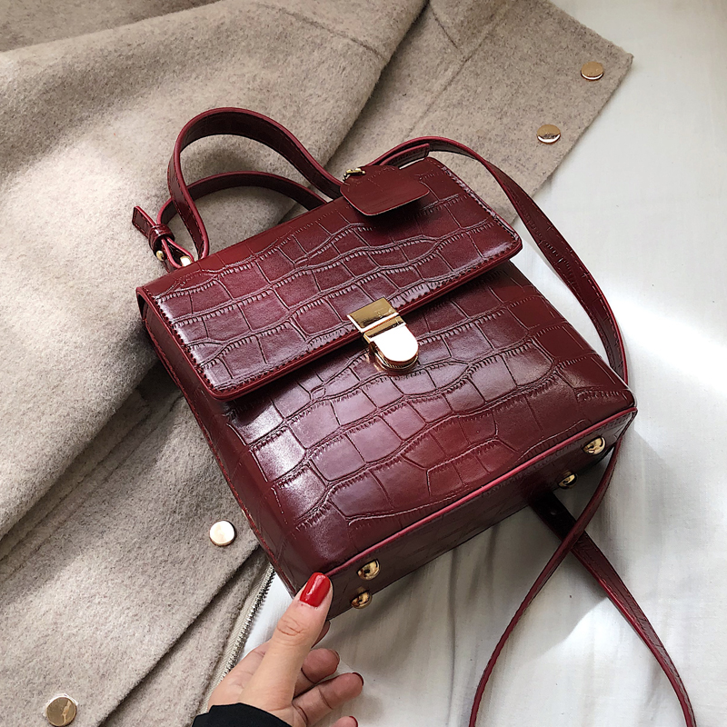 Vintage Fashion Stone Pattern Tote Bag 2019 New High Quality PU Leather Women's Designer Handbag Lock Shoulder Messenger Bag