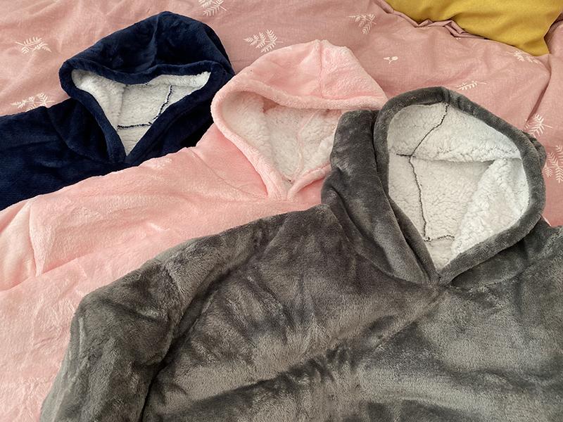 Winter Warm Comfy Hooded Pocket Blankets Adults Bathrobe Sofa TV Blanket Sweatshirt Solid Plush Coral Fleece Blankets Outwears 14