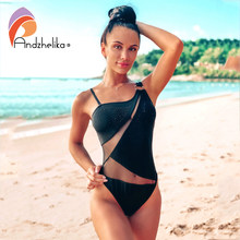 Andzhelika Seksi Mesh Patchwork Baju Renang One Piece Swimsuit Diamond Satu Bahu Off Bahu Bodysuit Baju Monokini(China)