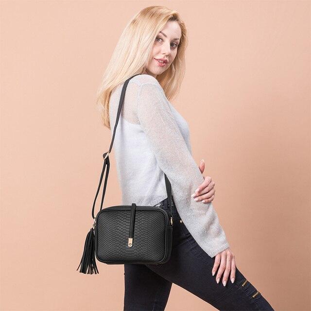 REALER small shoulder bag for women messenger bags ladies retro PU leather handbag purse with tassels female crossbody bag 1