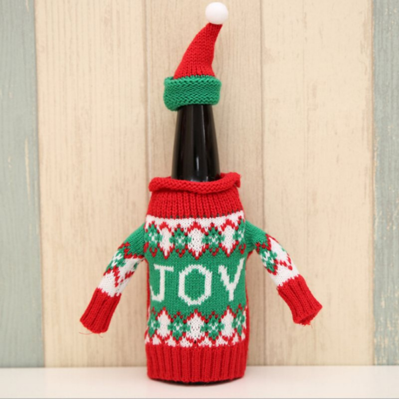 Christmas Decoration High-grade Knitted Wine Beer Small Sweater Snowman Elk Shape Bottle Suits Christmas Party Decoration