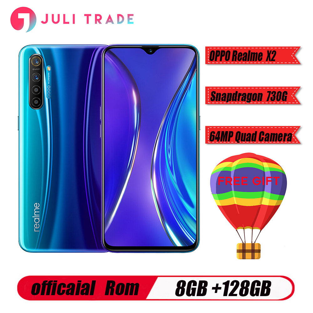 Original Oppo Realme X2 Mobile Phone Snapdragon 730G 6.4 inch Super AMOLED Screen Android 9.0 8GB 128GB 64.0MP 30W Charger NFC