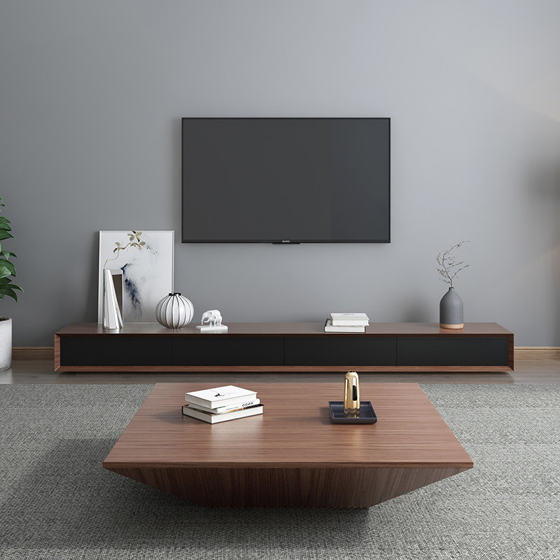 Nordic Coffee Table TV Cabinet Combination Simple Small Apartment Italian Minimalist Light Luxury Coffee Table TV Cabinet Living