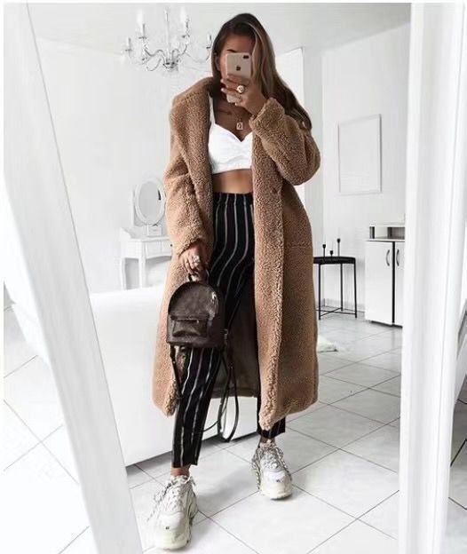 Hde91fa4f57f8468c9c483bab23a3a5e6O Faux Fur Teddy Coat Women Autumn Winter 2020 Casual Plus Size Long Jacket Female Thick Warm Outwear Oversize Fur mujer chaqueta