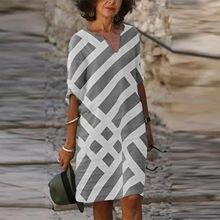 40 # vestidos vintage das mulheres plus size stripe print vestido de praia com decote em v manga curta verão vestido casual vestidos longos de verao