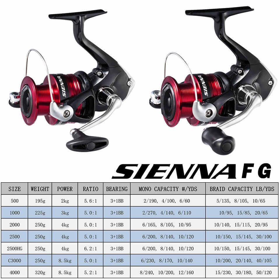 Nieuwe Shimano Sienna Spinning Vissen Reel 1000/2500/4000 Zeewater/Zoetwater Aluminium Spoel Spinning Reel Carretilha De pesca