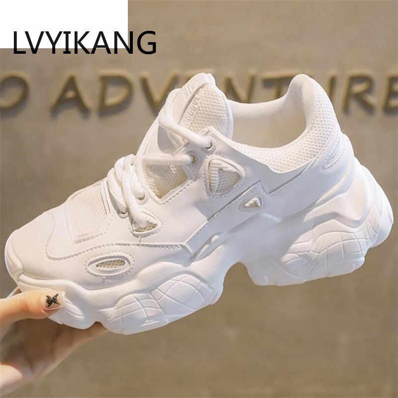 2019 Dành Cho Nữ Thời Trang Trắng Sáng Hơn Nền Tảng Nữ Chun Nhân Quả Giày Người Phụ Nữ Giày Bít Sabo Da Giày Chaussure Femme Size 35-40