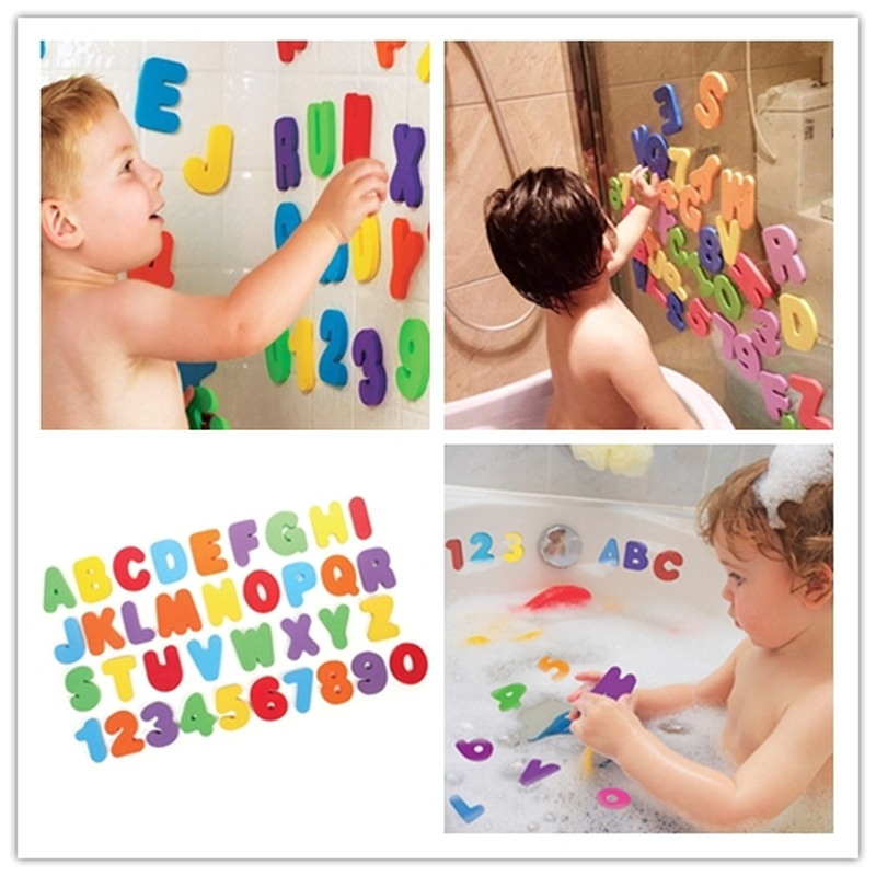 36pcs/set Animal Alphanumeric Letter Digital Bath Toys EVA Kids Foam Baby Bathroom Water Toys Educational Suction Up Toy