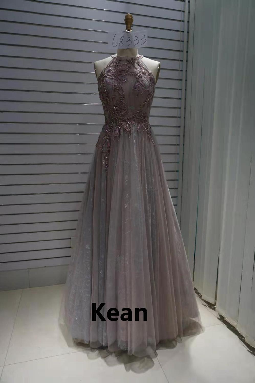 Gray Evening Dresses Beads Illusion Vestidos De Fiesta Formal Party Dress Islamic Dubai Kaftan Saudi Arabic Prom Gown Real Photo