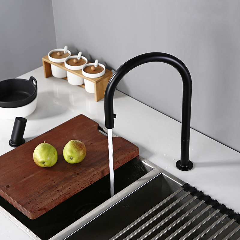 Swivel Kitchen Faucet Brass Material Kitchen Alba Matt Black Pull Down Head Sink Faucet Pull Out Black Spray Kitchen Sink Tap