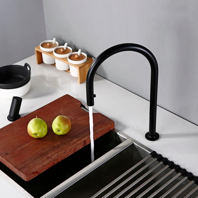 Swivel Kitchen Faucet Brass Material Kitchen Alba Matt Black Pull Down Head Sink Faucet Pull Out Black Spray Kitchen Sink Tap