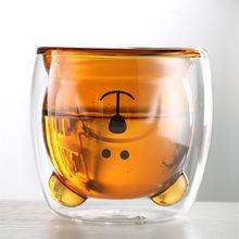 Taza de café doble de 270 ml, vaso de bebida fría de vidrio de borosilicato, vaso de bebida caliente, vaso de vidrio de leche de vidrio de oso bonito, vaso de té de la leche