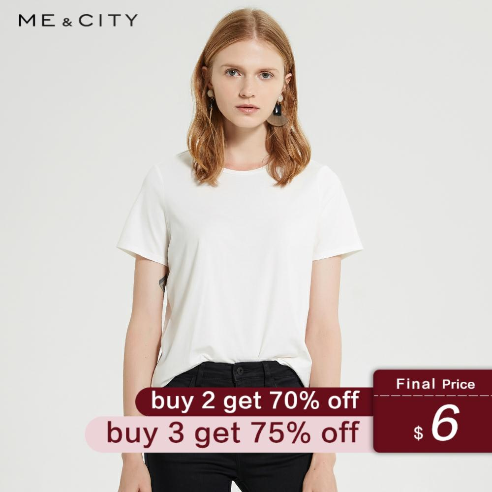 Me&city New Cotton Aesthetics Tshirt  Solid Color Short Sleeve Tops&Tees Fashion Casual Sexy Round Neck T Shirt