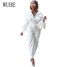 цена на WUHE Solid V-neck Flared Sleeves Jumpsuits with Pockets Women Long Sleeve Hollow Out White Yellow Fashion Playsuits Overalls