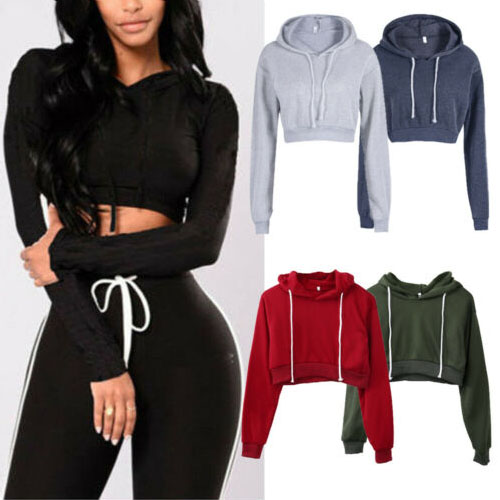 New Streetwear Womens Ladies Crop Top Hoodie Plain Pullover Sweatshirts Hoodies S-XL