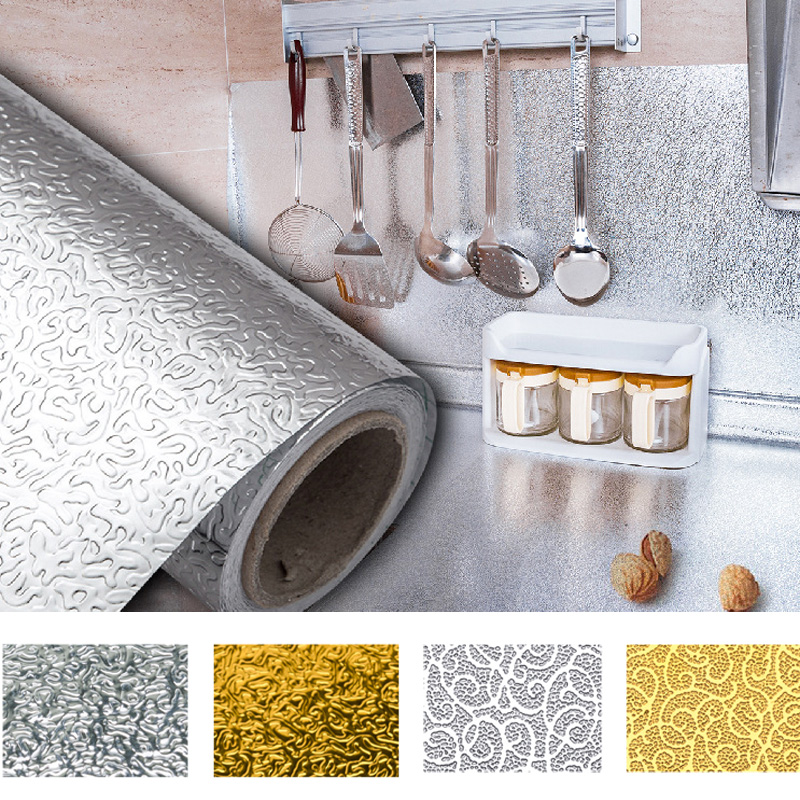 Aluminum Foil Waterproof Oil-proof Wall Sticker Kitchen Decal Home Decor
