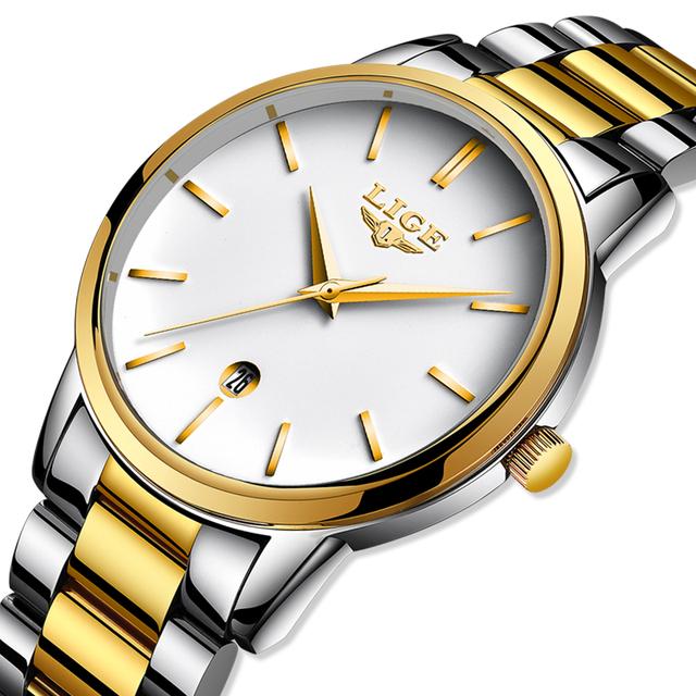 LIGE 2020 New Gold Watch Women Watches Ladies Creative Steel Women's Bracelet Watches Female Clock Relogio Feminino Montre Femme