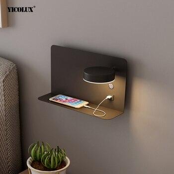 Luces LED de pared con interruptor e interfaz USB, lámpara negra blanca de moda, accesorio para pasillo, iluminación de arte, luminaria de pared