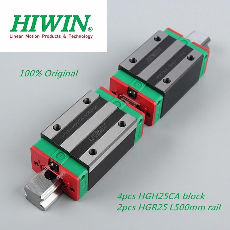 2pcs ORIGINAL HIWIN HGR25 Linear Rail L500mm with 4pcs HGH25CA linear carriage sliding block