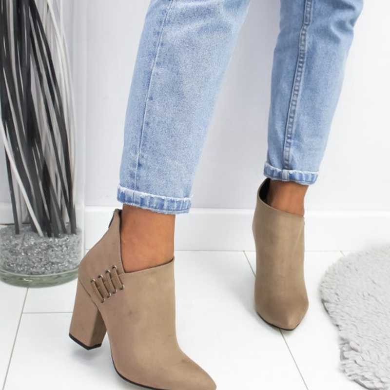 LOOZYKIT 2019 Nieuwe Mode Vrouwen Schoenen Enkel Sexy Laarzen Korte Laarzen Hoge hak Mode Wees Europa Schoenen Woman Plus maat 35-43