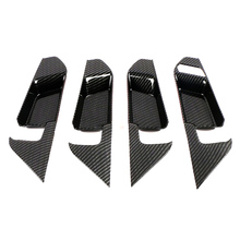 JEAZEA 4Pcs Carbon Fiber ABS Interior Inner Handle Cover Frame Trim Decoration Fit For Toyota RAV4 2019 Car Accessories dwcx abs carbon fiber style front seat heating switch button cover trim frame panel car styling fit for toyota rav4 2019 2020