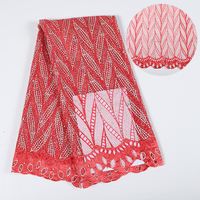 Red Lace Fabric High Quality Lace Nigerian Lace Fabric For Women Dress African Tulle Lace With Stones 5Yards Per Piece YH120