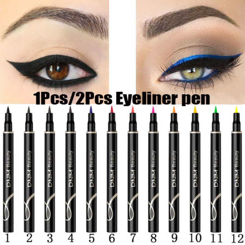 Neue 12 Farben Make-Up Wasserdicht Neon Bunte Flüssigkeit Eyeliner Pen Make Up Comestics Lange anhaltende Black Eye Liner Bleistift make-up