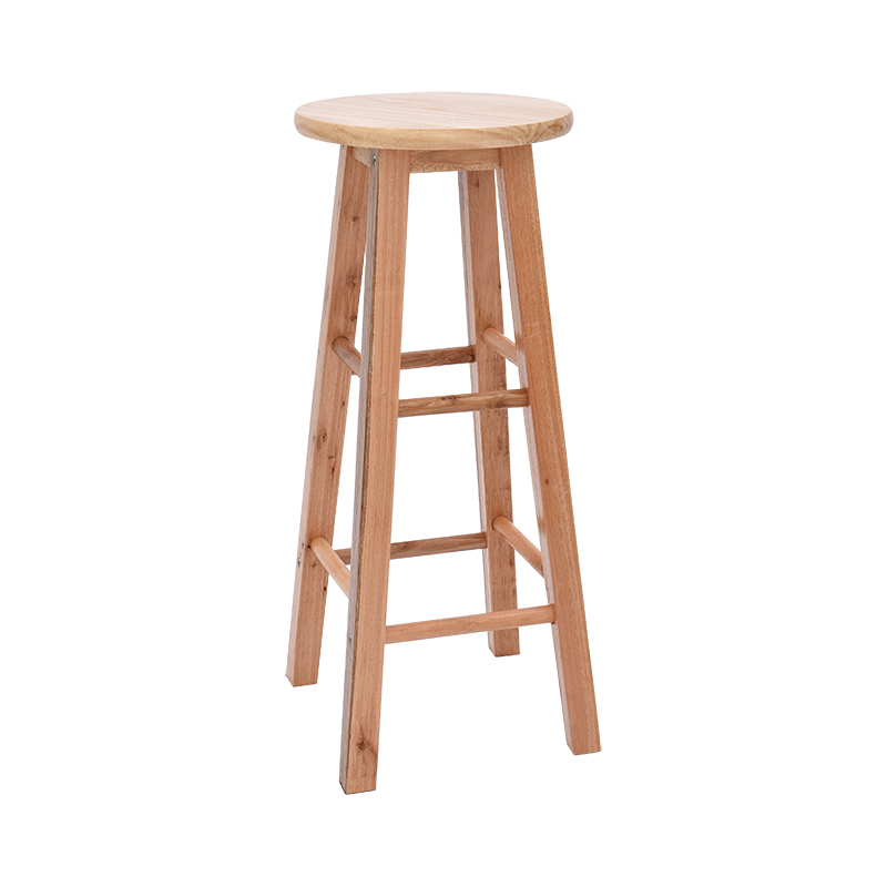 Solid Wood Bar Stool  High Chair Home Dining Round   Color Ladder    Retro Front