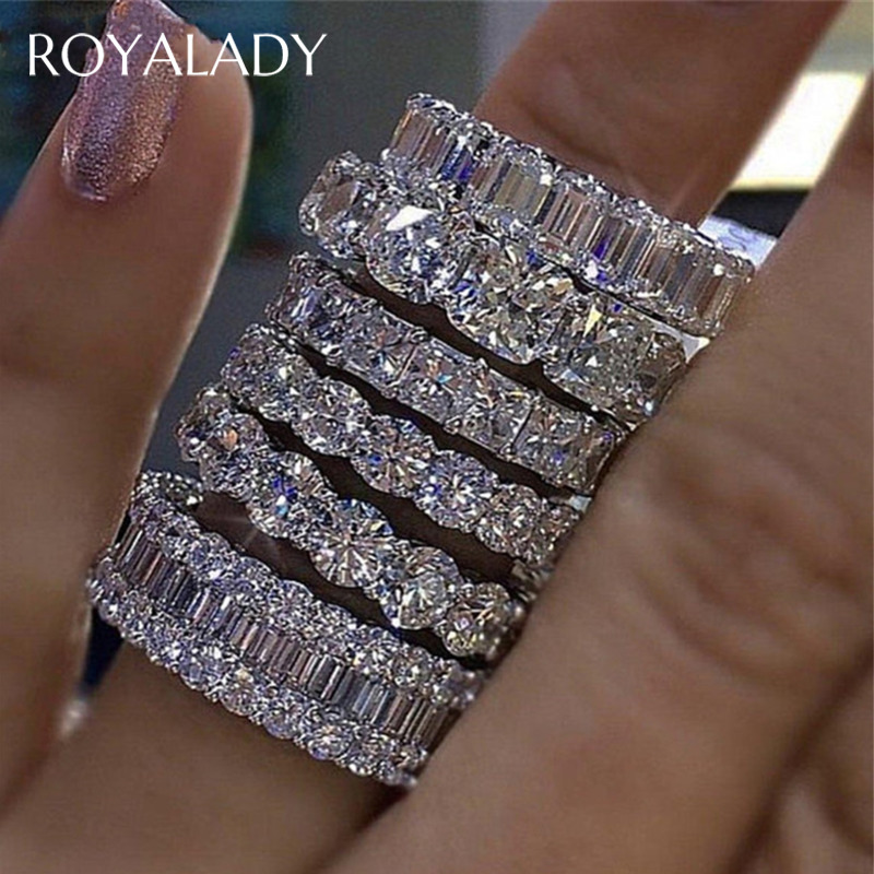 Luxury Big Crystal Wedding Band Eternity Ring For Women Clear Cubic Zirconia Silver Color Gift For Ladies Love Wholesale Jewelry