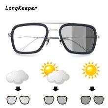 LongKeeper Classic Photochromic Sun Glassses Men Tony Stark Iron Man Metal Goggle Women Chameleon Pi