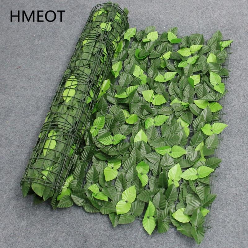 UV koruma yapay balkon yeşil yaprak çit Roll Up Panel sarmaşık gizlilik bahçe çit arka bahçe ev dekor Rattan bitkiler duvar