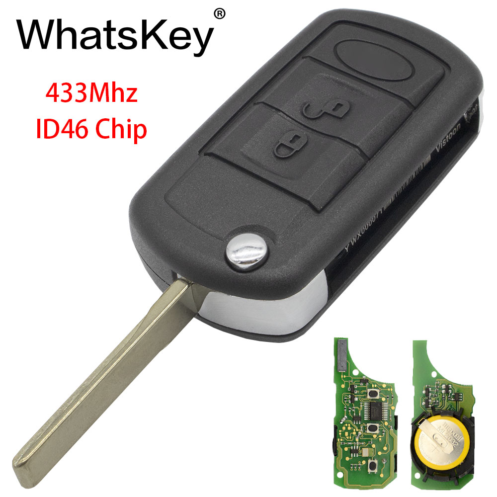 3 Button Flip Remote Key Fob Case w// ID46 Chip 433MHz For Land Rover Discovery 3
