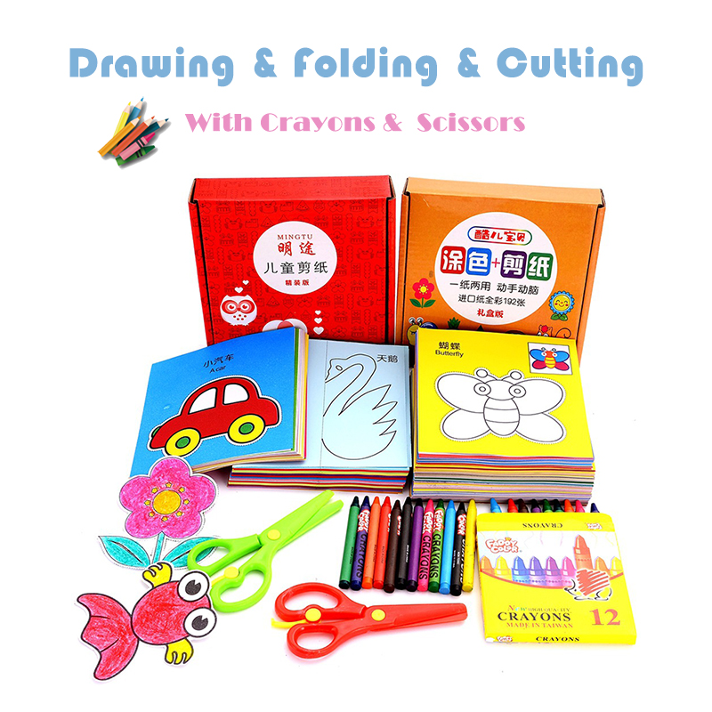 96/192 Pcs Craft Paper Kids Toys DIY Cut Book With Scissors Children Scrapbooking Drawing Toys For Baby Educational Toy Gifts