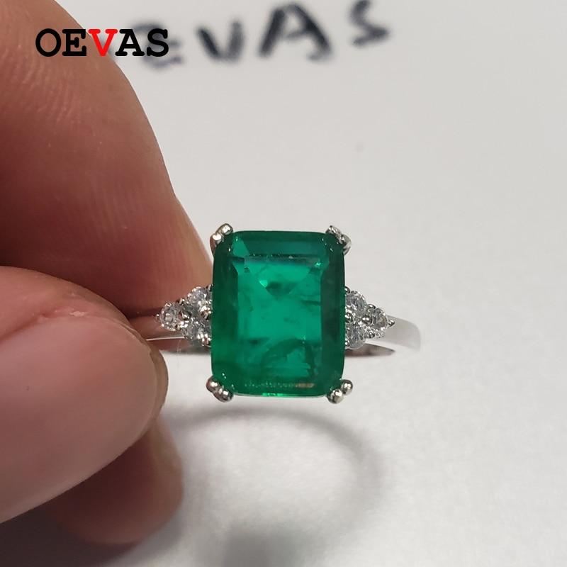 OEVAS Vintage 100% 925 Sterling Silver Emerald Gemstone Birthstone Wedding Engagement Anniversary Ring Fine Jewelry Wholesale