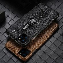 Luxus Echtem Fhx mqk 3D Drachen Kopf Grain Kuh Leder telefon fall Für iPhone 11 Pro Max X XS max XR 6 6s 7 8 Plus abdeckung fällen