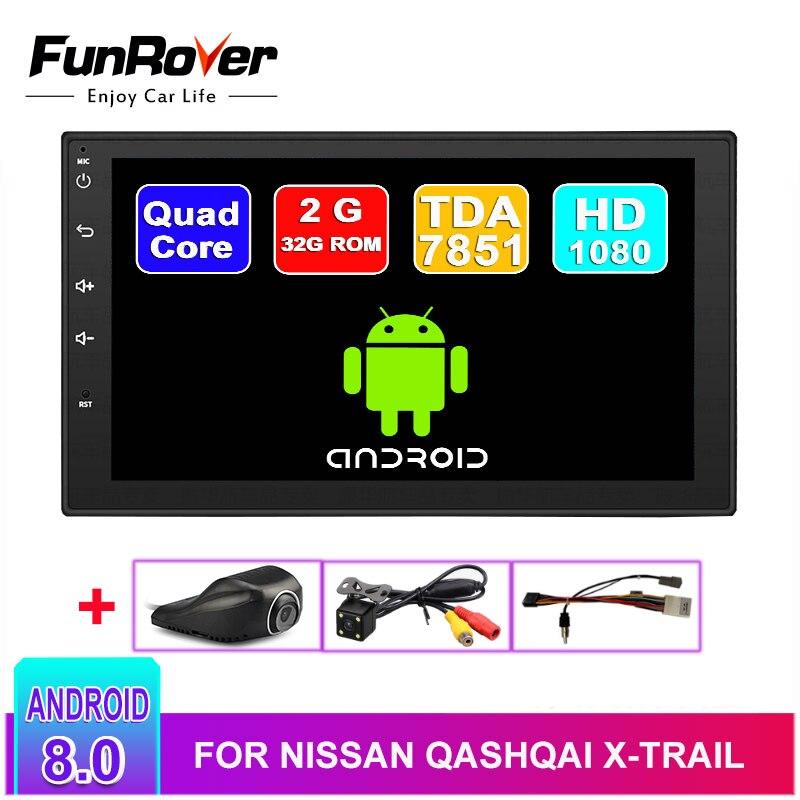 Lecteur dvd de voiture Funrover 2 din android 8.0 pour nissan qashqai x-trail almera note juke lecteur de navigation gps universel pour voiture bt