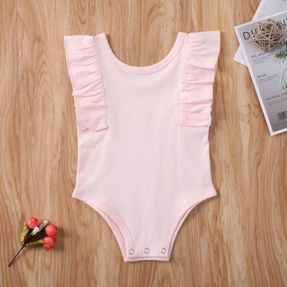 2020 Baby Sommer Kleidung Neugeborenen Baby Junge Mädchen Unisex Baumwolle Overall Body Rüschen Feste Kleidung Set Sleeveless Sunsuit