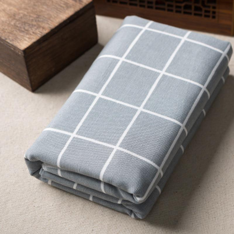 Printed Cotton Linen Fabric Gray Gird For Patchwork Quilting Sewing DIY Furniture Cover Sofa Table Cloth Curtain Bag Cushion