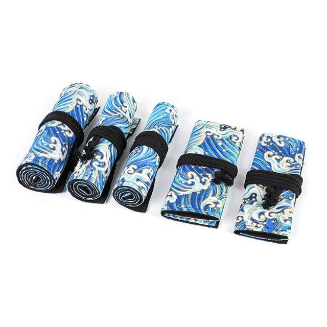 12/24/36/48/72 Holes Canvas Roll Up Pencil Bag Pen Curtain Case Makeup Wrap Holder Storage Pouch 5