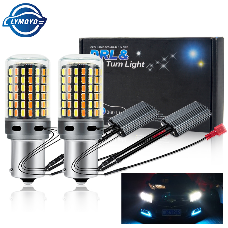 DRL Turn Signal PY21W P21W LED Dho Canbus BA15S BAU15S T20 7440 W21W 3156 3014 120smd Dual Mode Daytime Running Light DC12V