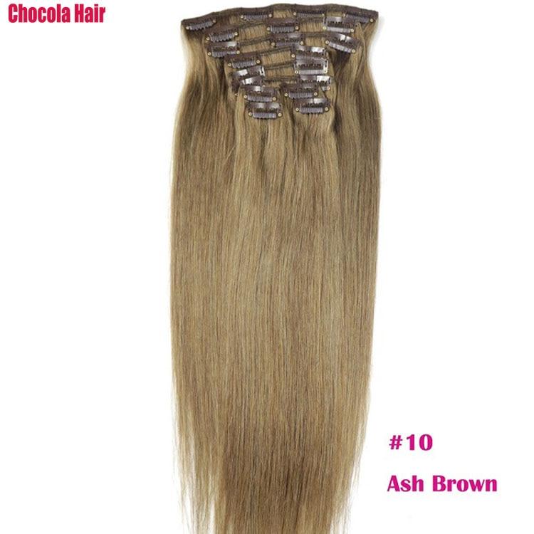 Chocola, бразильские волосы remy на всю голову, 10 шт. в наборе, 280 г, 16-28 дюймов, натуральные прямые человеческие волосы для наращивания на заколках - Цвет: #10
