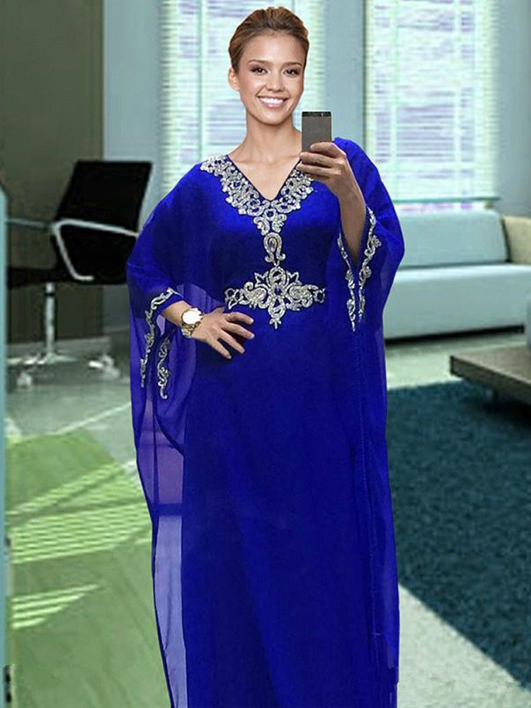 2020 Royal Blue Chiffon Kaftan Evening Dress with Beaded Crystal Long Formal Special Occasion Dress Prom Party Gown Plus Size