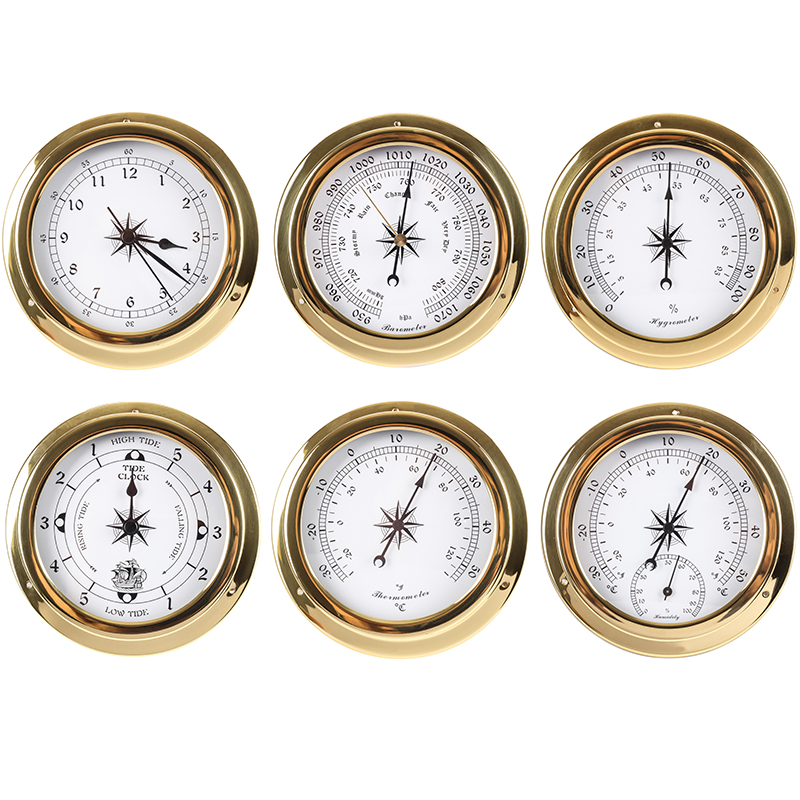 New 1pcs Brass Case Weather Station Barometer Temperature Hygrometer Clock And Clock Tid 115mm 1-6 Model To Choose B91156