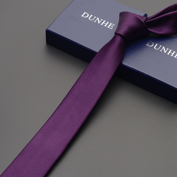 2019 New Arrival Fashion Ties for Men Purple Elegant Tie 5CM Slim Silk Necktie Gravata for Men Solid Purple Ties with Gift Box