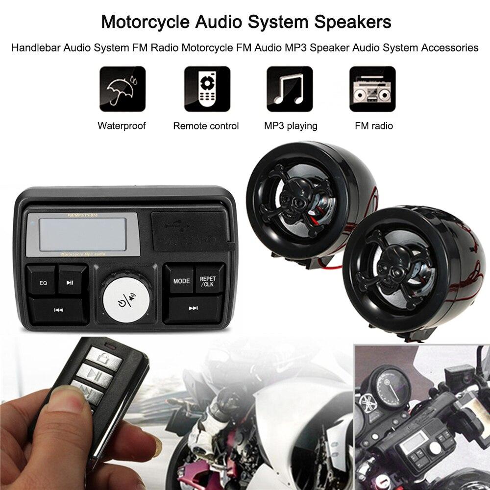 Motorcycle FM Audio MP3 Speaker Audio System Accessories Motorcycle Audio System Speakers Handlebar Audio System FM Radio